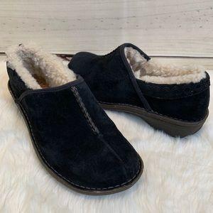 UGG Slip-on Black Suede Sheepskin Lined Shoes